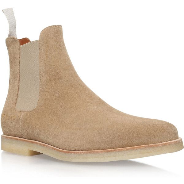 Common Projects Beige Suede Chelsea Boots (£315) ❤ liked on Polyvore featuring men's fashion, men's shoes, men's boots, mens suede chelsea boots, mens suede boots, mens beige shoes and mens suede shoes