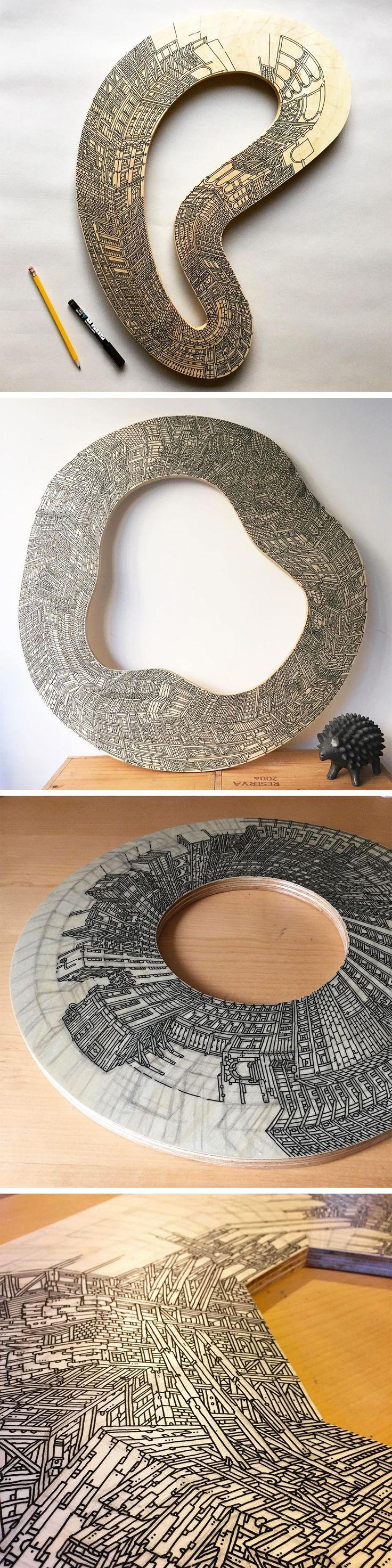 Artist Vasco Mourao Illustrates 'Infinite' Skyscrapers on Circular Pieces of Plywood