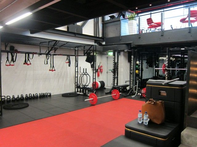 Clean and fresh functional training space #stayfitdfw gym interiors commercial gym studio fitness center