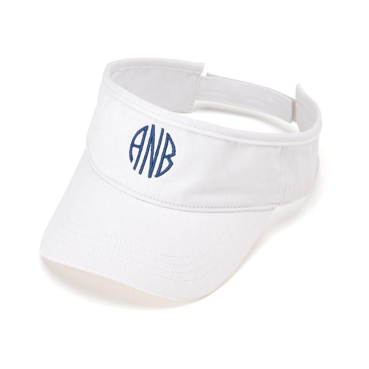 White Personalized Womens VISOR HAT Baseball Cap Beach Pool Sports