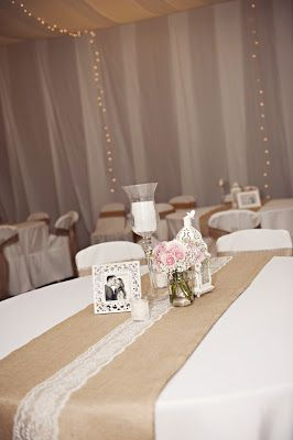 Burlap and lace LDS wedding reception in a cultural hall.  I like the table runner. so simple and cute! But with more colour