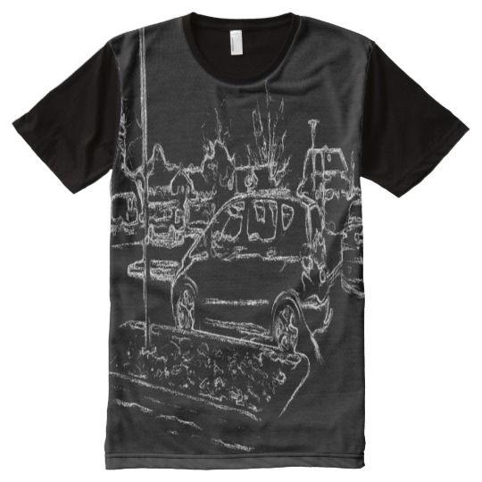 black and white car drawing All-Over print T-Shirt A photo with black and white drawing effect on it of a parking place with many cars parked.
