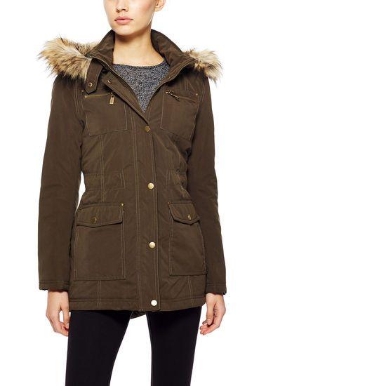 NEW $250 Rachel Roy Size Large Faux Fur Cinch Waist Fish Tail Coat Parka Anorak #RachelRoy #Anorak