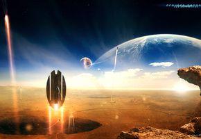 Обои Project Genesis, Проект Генезис, Планета, Поверхность, Космические Корабли…
