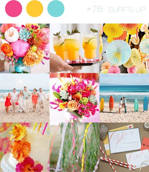 flowers for wedding reception pink and yellow and aqua - Google Search
