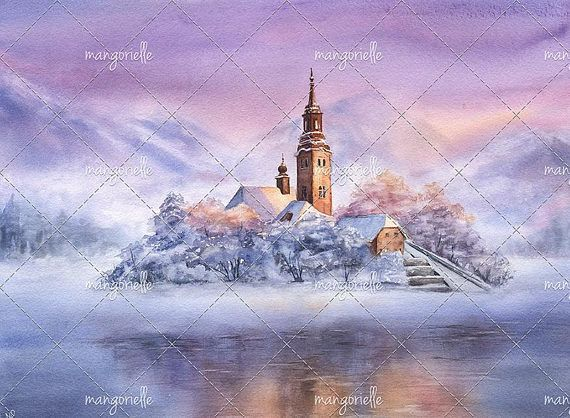 When I saw photos of the fantastic landscapes of Lake Bled in Slovenia for the first time, I couldnt believe that its not a photomanipulation and this place really existed! It looks unbelievably dreaming and inspiring and I like painting it sooo much :) #slovenia #winter #lakebled #bledlake #landscape #winterlandscape #reflection #watercolor #watercolorpainting #painting #watercolorart
