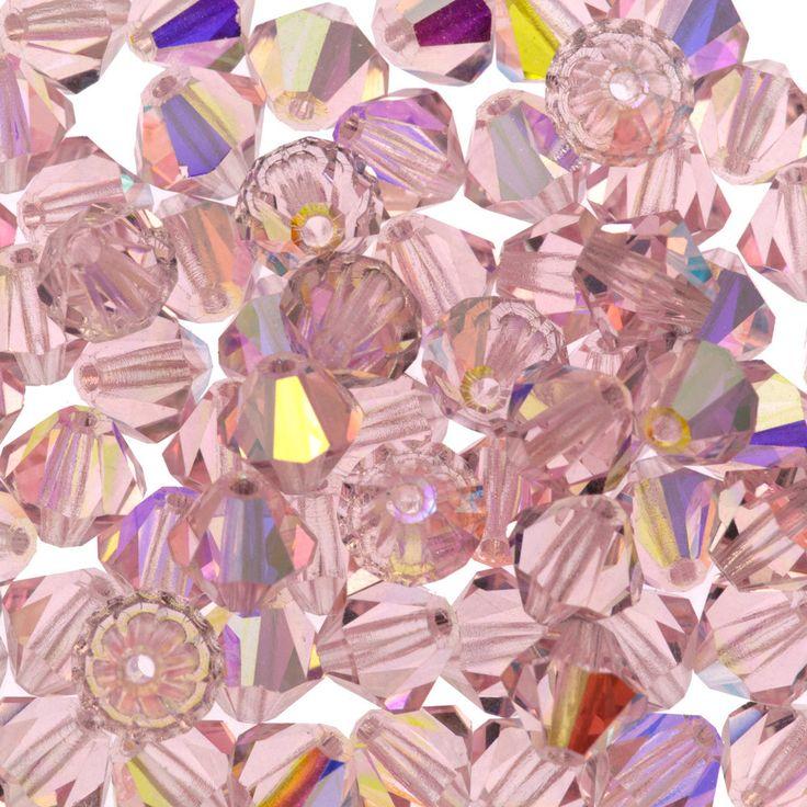 72 Preciosa Czech Crystal 6mm MC Bicone Bead Light Rose AB (70120AB)