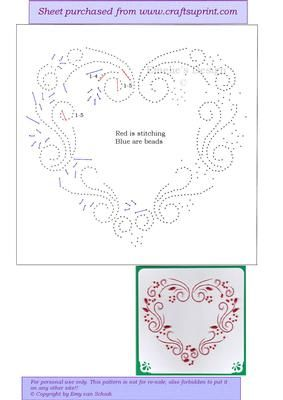 ED138 Valentine red heart on Craftsuprint designed by Emy van Schaik - Stitching with beads - Now available for download!