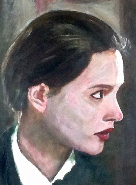 "Virginie Ledoyen, one of ""8 femmes"", award winning French film. acrylic on paper"
