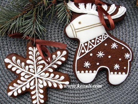 Роспись пряников, имбирного печенья глазурью. Айсинг, рецепт. Новогоднее...
