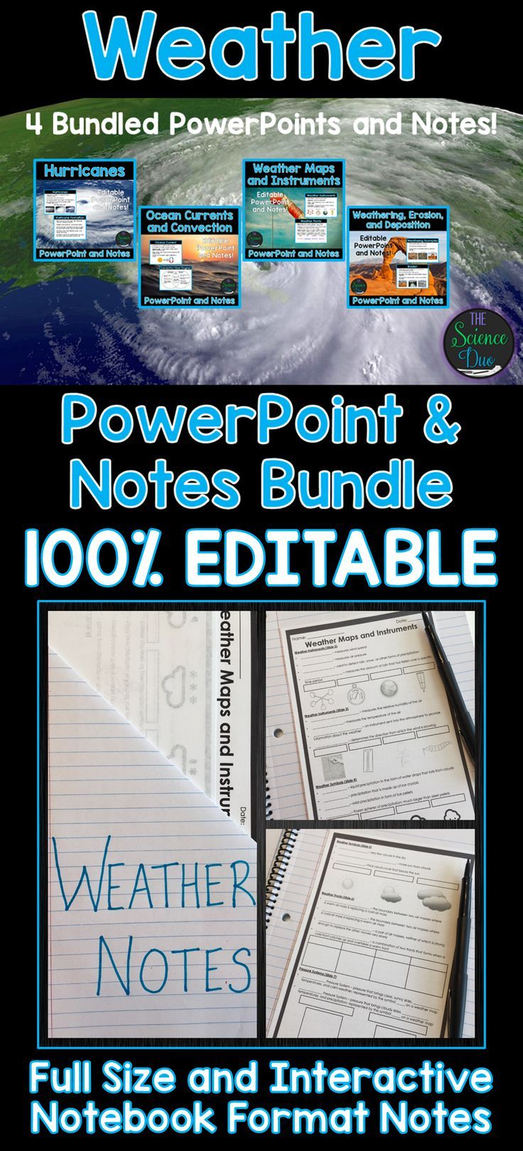 Introduce important Weather concepts to your students with this PowerPoint and notes bundle! Hurricane Formation, Ocean Currents and Convection, Weather Maps and Instruments, and Weathering, Erosion, and Deposition is included in this bundle.