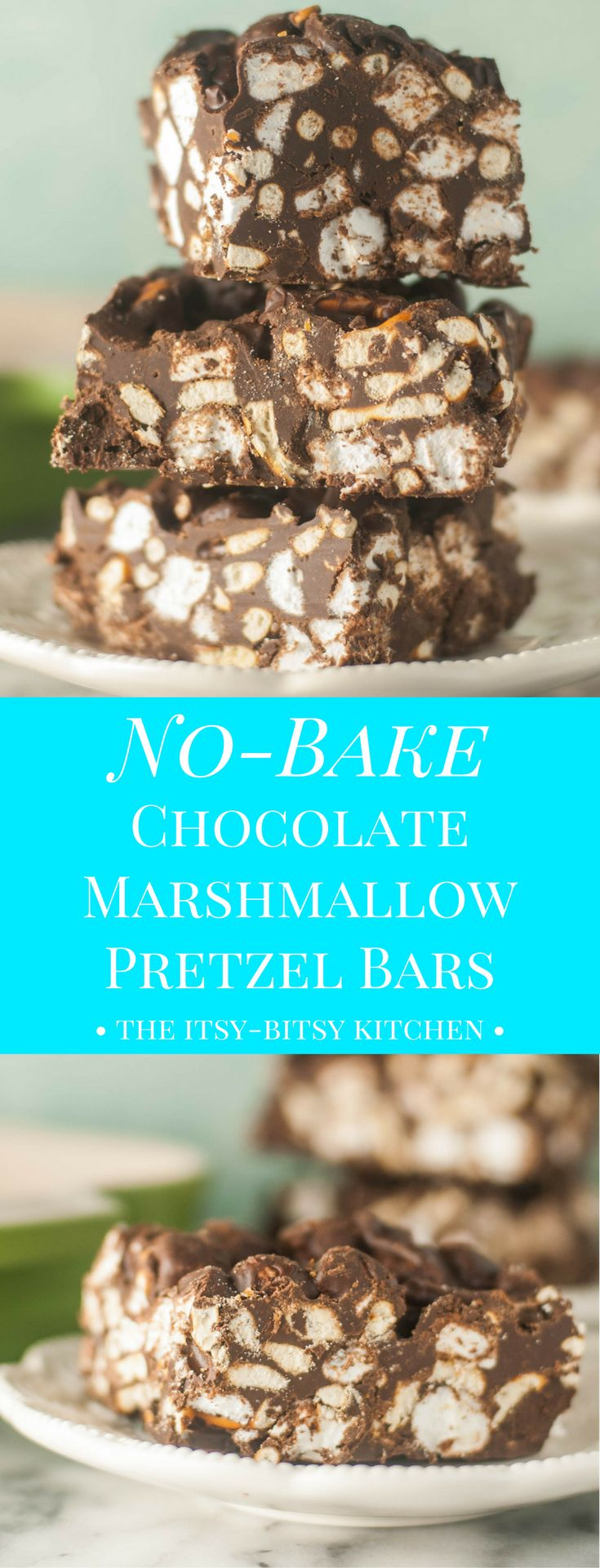 A simple no-bake cookie, these chocolate marshmallow pretzel bars are the perfect dessert for summer or any time of year!