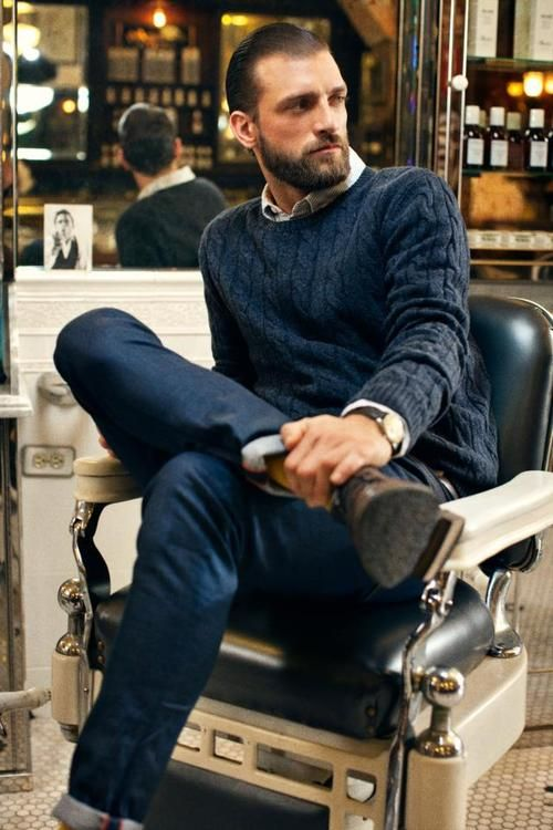 loitering at the barber shop: Men Clothing, Casual Style, Fashion Style, Men Style, Men Fashion, Barbers Shops, Knits Sweaters, Cable Knits, Style Fashion