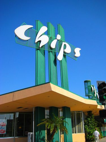 "Chips coffee shop in Hawthorne, California was one of the locations used for the filming of the 2006 movie ""Hollywoodland"" with Ben Affleck. It was built in the 1950s and still stands with the original architecture intact."