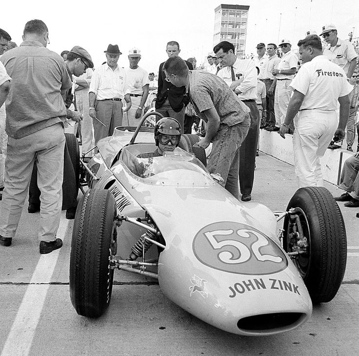 Indy, 1962. Dan Gurney in a John Zink Trackburner with a rear-mounted Boeing turbine engine. Neither Gurney nor Duane Carter could get the car up to qualifying speed.