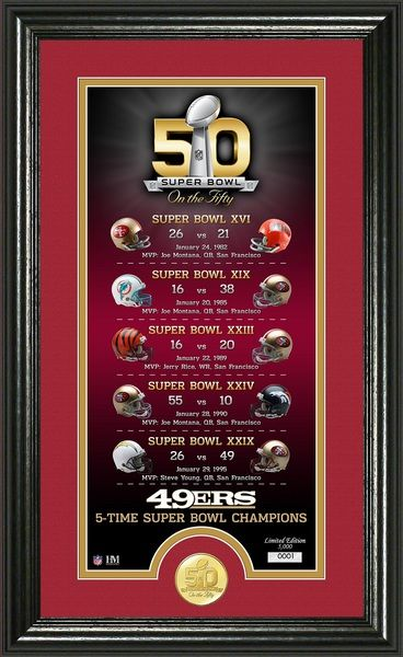 San Francisco 49ers Super Bowl 50th Anniversary Bronze Coin Photo Mint celebrating their 5 Super Bowl wins matted and framed