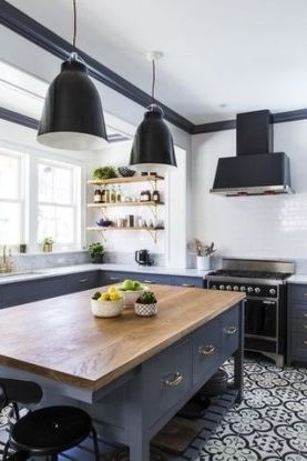 Contemporary kitchen with gray cabinents and large black pendant light