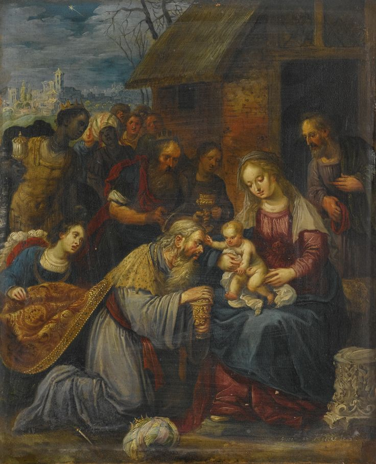Gaspar van den Hoecke ACTIVE IN ANTWERP 1595 - 1648 THE ADORATION OF THE MAGI signed lower right: gaspar van Hoecke. In. f. oil on panel 25 by 20.5 cm.; 9 3/4  by 8 in.: