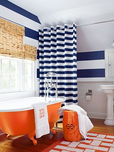17 best images about all things orange and blue on for Blue and orange bathroom