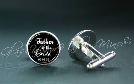 Father of the Bride Cufflinks, Personalized Cufflinks, Custom Cufflinks, Initials Cufflinks, Groomsmen Usher, Wedding Cufflinks, Anniversary