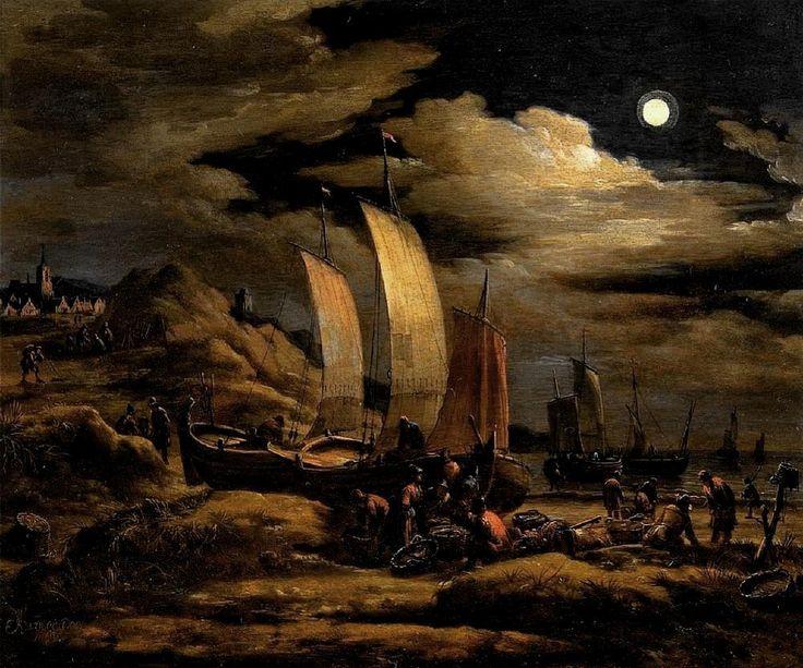 Egbert Lievensz van der Poel (1621-1664) Egbert van der Poel was bekend om zijn nachtelijke scènes. In 1663 schilderde hij vissers op het strand. Het is niet duidelijk of de pinken gereed worden gemaakt voor vertrek of dat ze worden uitgeladen na binnenkomst. Het moet vroeg in de ochtend zijn. Links lopen enkele mensen over het Schuitegat. Op de achtergrond de kerk van Scheveningen en de vuurbaak. Een zeldzame nachtelijke scène van het strand van Scheveningen in de Gouden Eeuw.