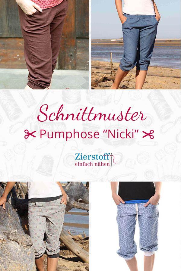 """Schnittmuster und Nähanleitung für eine Pumphose in 3/4 Länge, """"Nicki"""", Gr. 158 – Damengr. 46"""