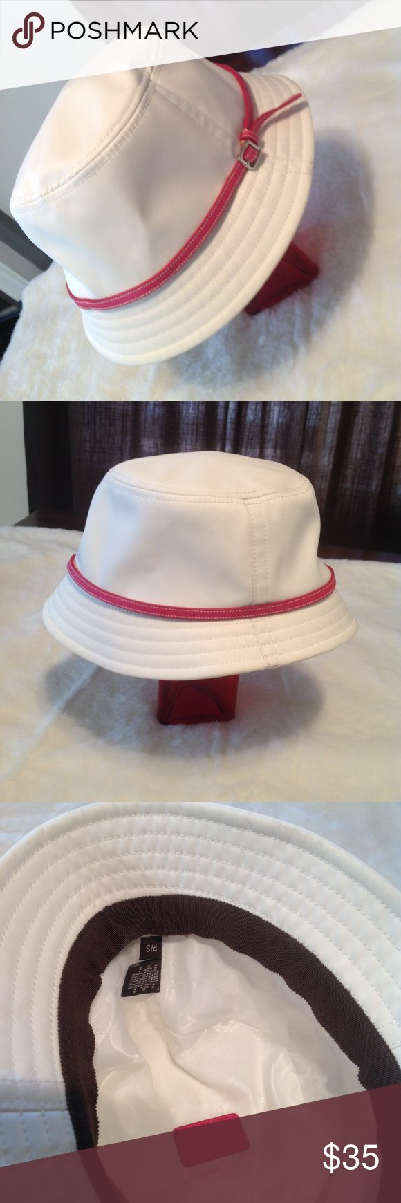 Coach Hat White with Pink Leather band Coach Hat White with Pink Leather band  Size P/S  EUC   🚫Trades Coach Accessories Hats