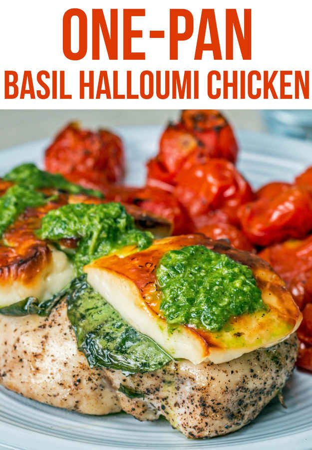 One-Pan Basil Halloumi Chicken