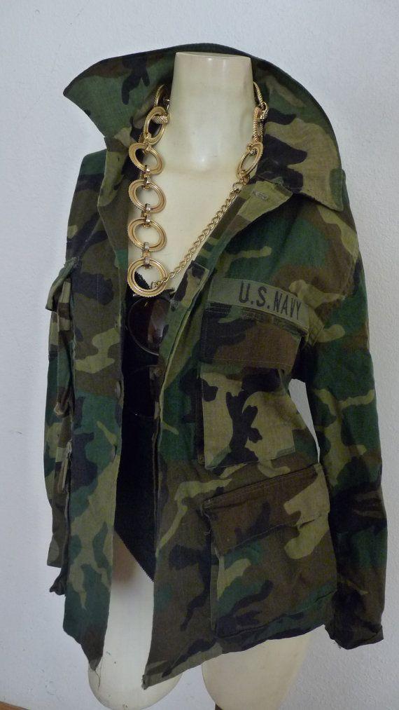 GRUNGE Vintage Camouflage army green fatigue Jacket //
