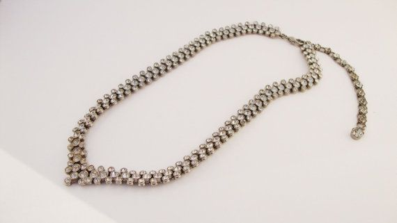 #Vintage Rhinestone #Necklace by Treasures On Broadway on Etsy, $36.00