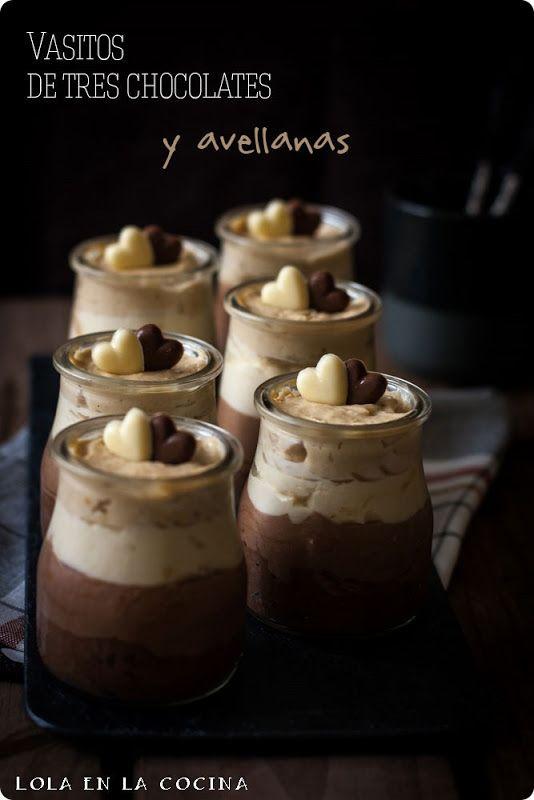 Lola en la cocina: Vasitos de tres chocolates y avellanas