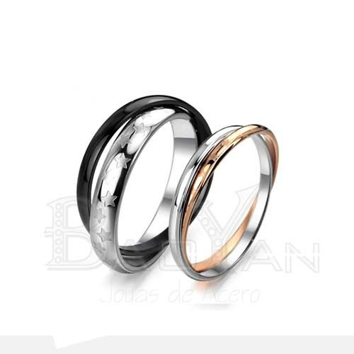 dobles aros anillos de compromisos modernos en venta de joyas de acero qururgico