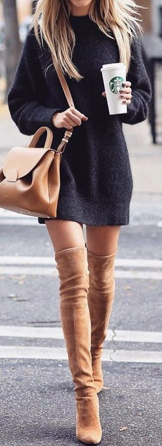 #winter #outfits black sweater with brown thigh-high boots