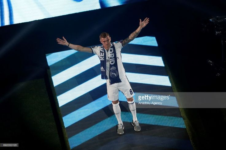 Toni Kroos of Real Madrid gestures during celebrations at Santiago Bernabeu Stadium after winning the 2016/17 UEFA Champions League in Madrid, Spain on June 4, 2017. La Liga champions achieved their record of 12th European Cup title. More than 80,000 Real Madrid fans attended the celebrations.