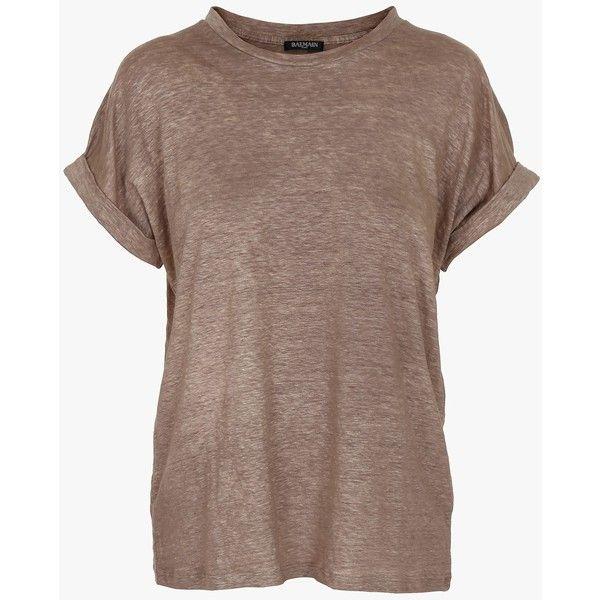 Balmain Plain linen T-shirt ($370) ❤ liked on Polyvore featuring tops, t-shirts, tees, short sleeve tee, linen t shirt, loose tee, loose fitting tops and folding t shirts