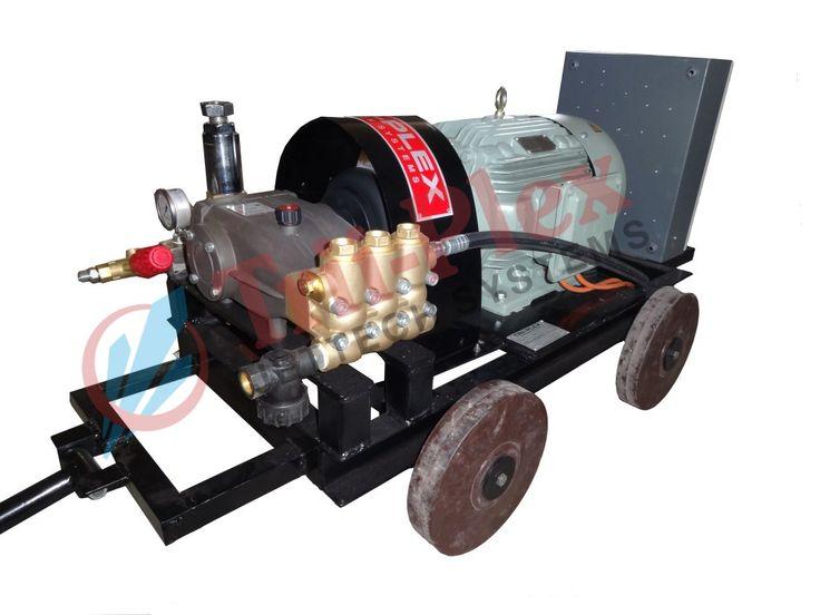 500 BAR (350 BAR) HAWK Series High Pressure Triplex Plunger Pump Manufacturer, Supplier, Exporter in Ahmedabad, Gujarat, India. - Trii-plex Jettech Systems #TRIIPLEX  http://triiplexjettechsystems.com  Model No: PXI-21.500 Flow Rate: 21 LPM Pressure: 350 BAR Motor: 20 HP (CG Make)  #TriplexPlungerPumpManufacturer #HAWKPressureBarePump #TubeCleaning #HeatExchanger #Boiler #Condenser #HydroTesting #PressureTesting #WaterJetCleaning #WaterBlasting #Technology #Advance