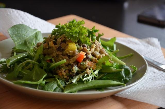 Lentil, Quinoa & Black Bean Hummus Salad - yummy & healthy!