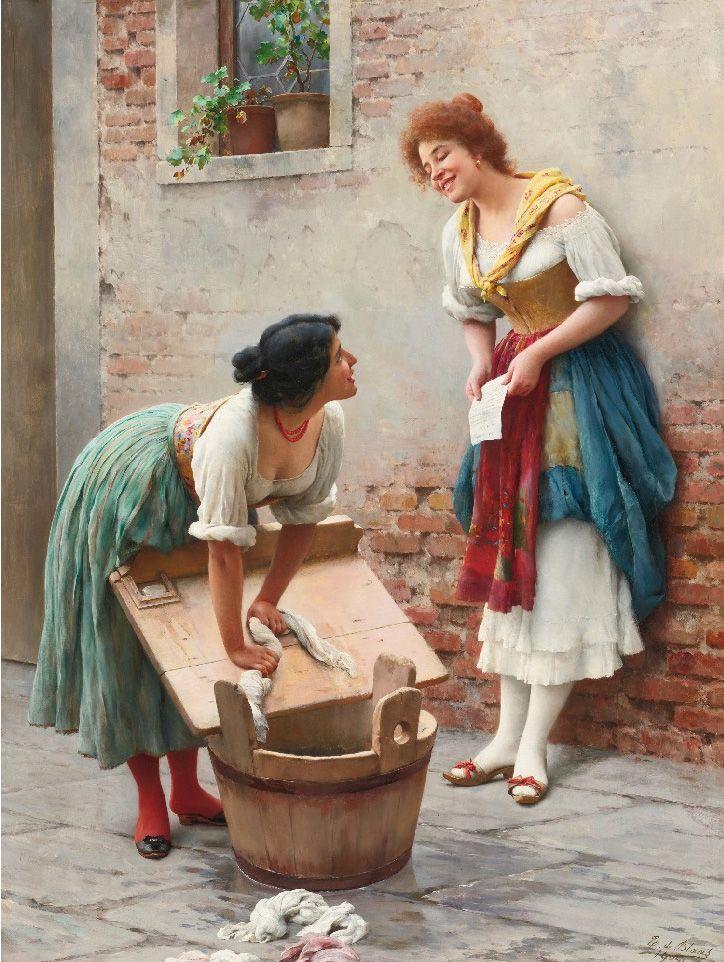 Eugen von Blaas: Sharing the News (1904)