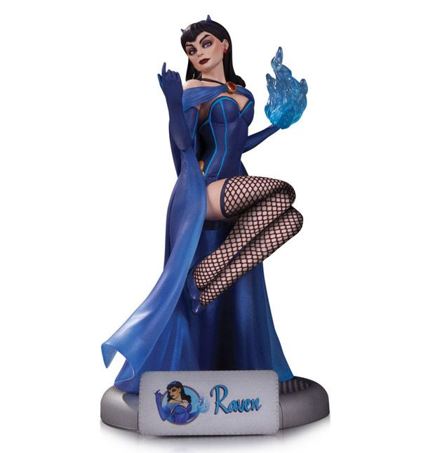 The mysterious teammate of the Teen Titans conjures some pin-up glamour as the DC Comics Bombshells Raven Statue.  With horns that reveal her demonic heritage and blue flame around her left hand to show her mastery of magic.
