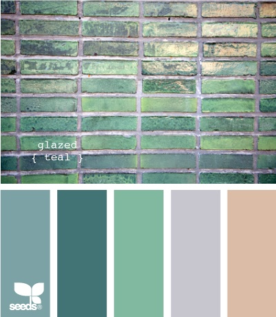 Greens colour palette with peach and grey.
