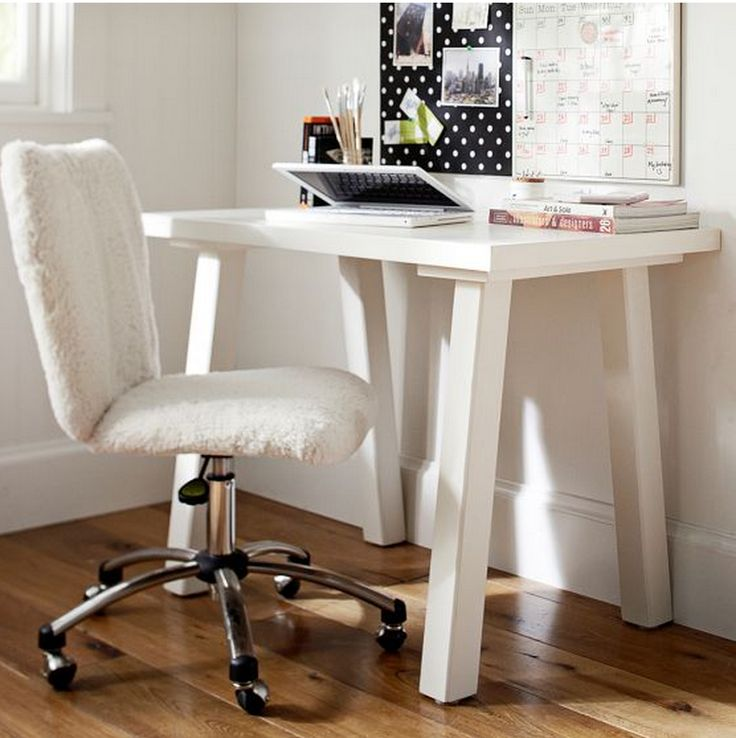 Pbteen Fuzzy No Arm Rest Desk Chair Desks For Small