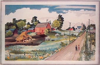 School Print 23, Minnesota (1947)  Adolf Dehn, 1896 - 1968  Lithograph 497 × 860mm (19½ × 30 in)  Incl delivery £90 (from Merivale Editions - my dad's company)
