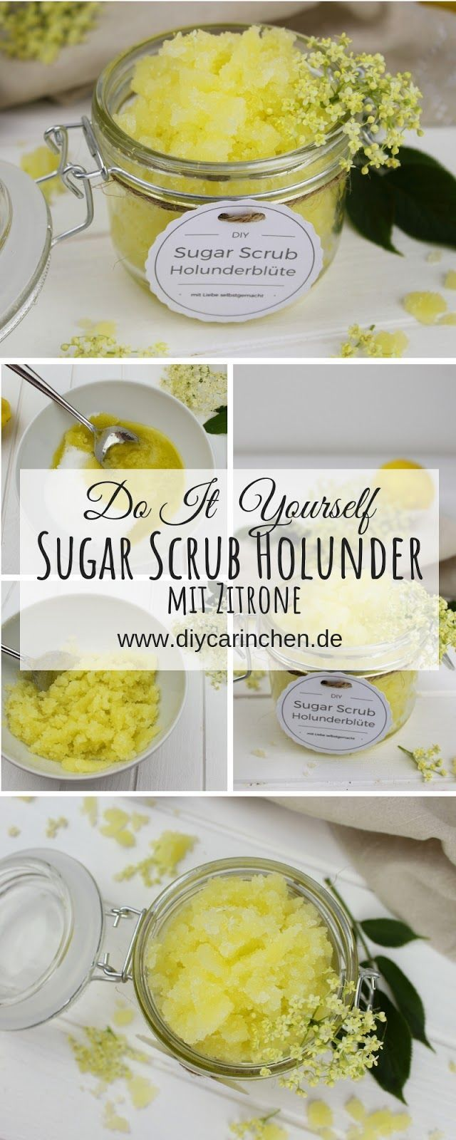 DIY – Holunderblüten Zitronen Sugar Scrub schnell und einfach selber machen + gratis Etikett