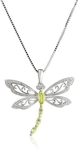 538 best jewelry design dragonfly images on pinterest dragon sterling silver peridot and diamond dragonfly pendant necklace 001 cttw i j color i2 mozeypictures