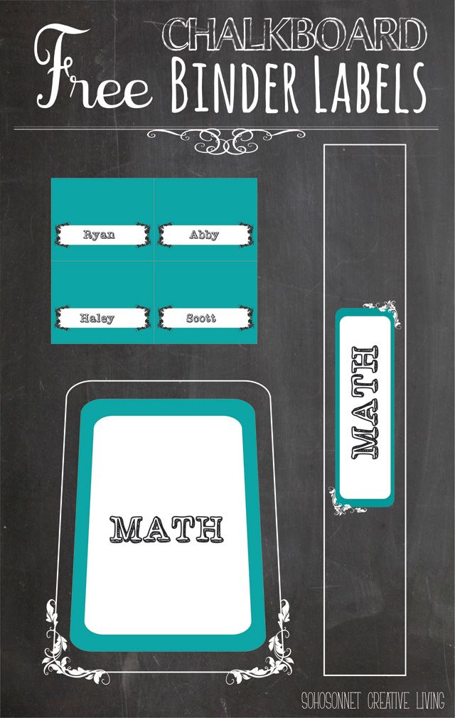 Teal Chalkboard labels for binders - also free to do lists and other labels to choose from