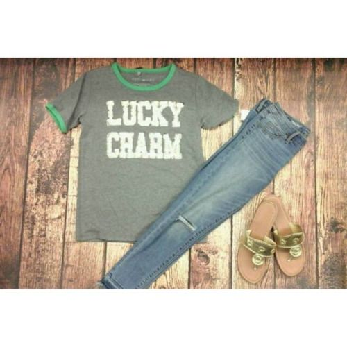 Heres a perfect outfit for St. Patricks Day!  Tee: Fifth Sun size medium $6 Denim: Mossimosize 2 $14 Sandals: Hot Cakes size 9.5 $8  P.S. Join us this weekend for our Pick Pop Shamrock event on Saturday! Tap the #PickPopShamrock17 tag for more info.   #pcWS #platoscloset #pclove #platosclosetwinstonsalem #winstonsalem #336 #WSNC #myWS #DTWS #WSSU #UNCSA #lookforless #lfl #whatiwore #wiw #wiwt #ootd #instastyle #style #trend #fashion #luckycharms #stpatricksday (at Platos Closet…