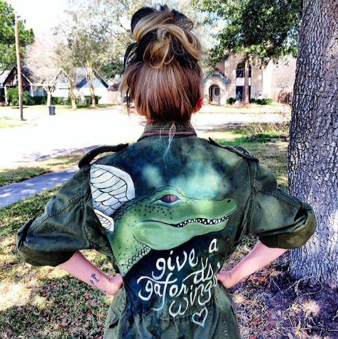 "Bunny's awesome ""Give an alligator it's wings"" army type jacket"
