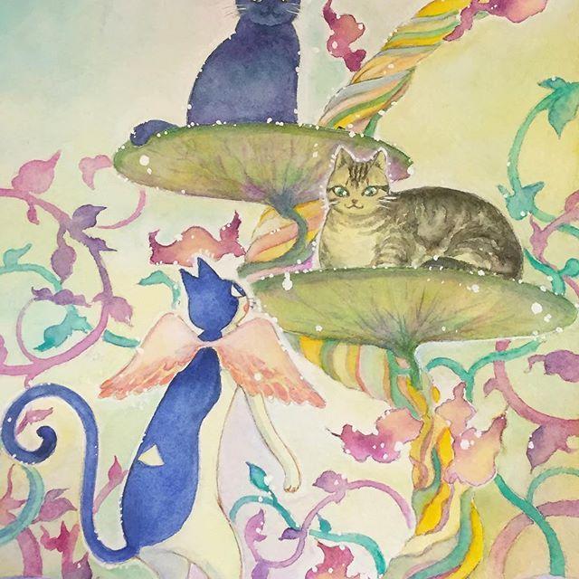 先日から描いていた「かぎしっぽのタマ 虹の橋の向こうを旅する」のシリーズの絵、ようやくできました。虹の橋の向こうのあっちとこっちの混ざる場所。ゆうゆうくつろぐおっきなニャンコは私のネットのお友達のお家のコです(^ν^) #イラスト #illustration #かわいい #イラストレーション #painting #水彩 #watercolor #猫 #cat #虹の橋 #もとpfukudamotoko2017/03/27 09:28:12