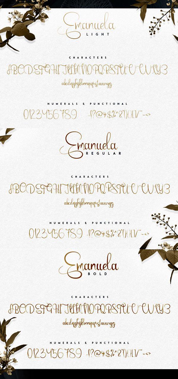 Emanuela Script fonts and letters | Free Fonts | Vintage fonts