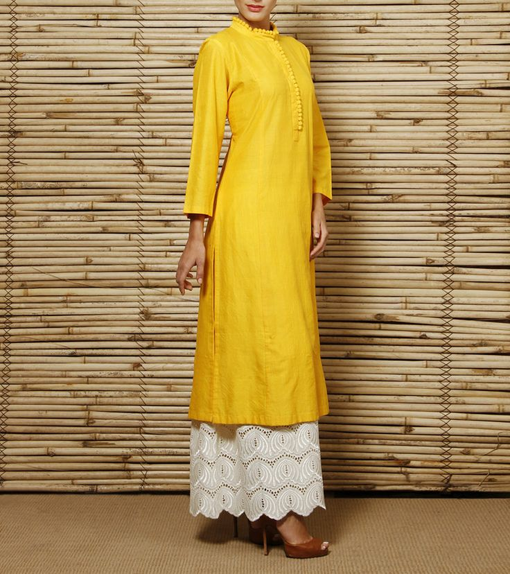 Long Cotton Kurta and Embroidered Palazzos. Get this in your favourite colors on www.faaya.in